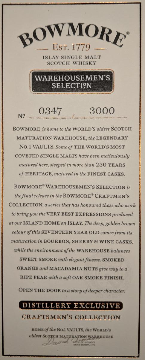 Bowmore 1999 Craftsmen's Collection