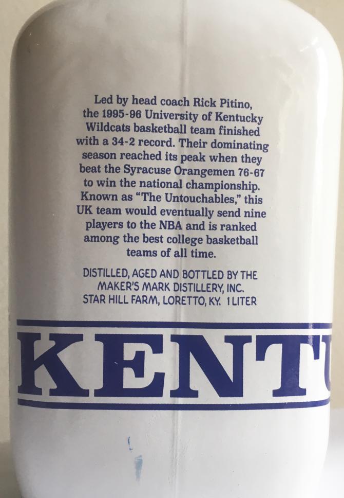 Maker's Mark Kentucky Wildcats Basketball 1996 National Champion