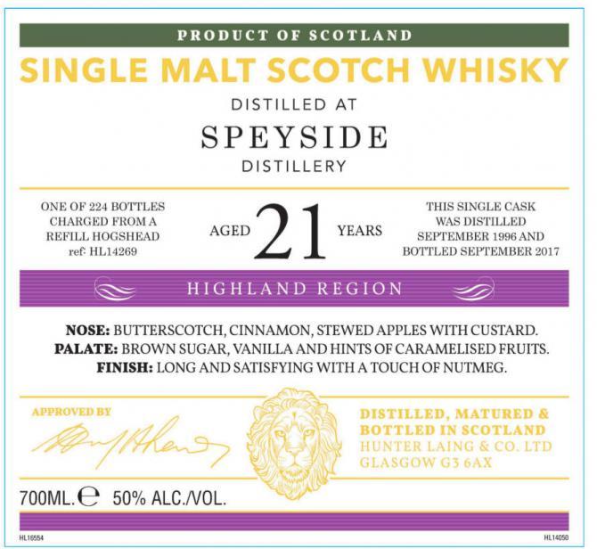 Speyside Distillery 1996 HL