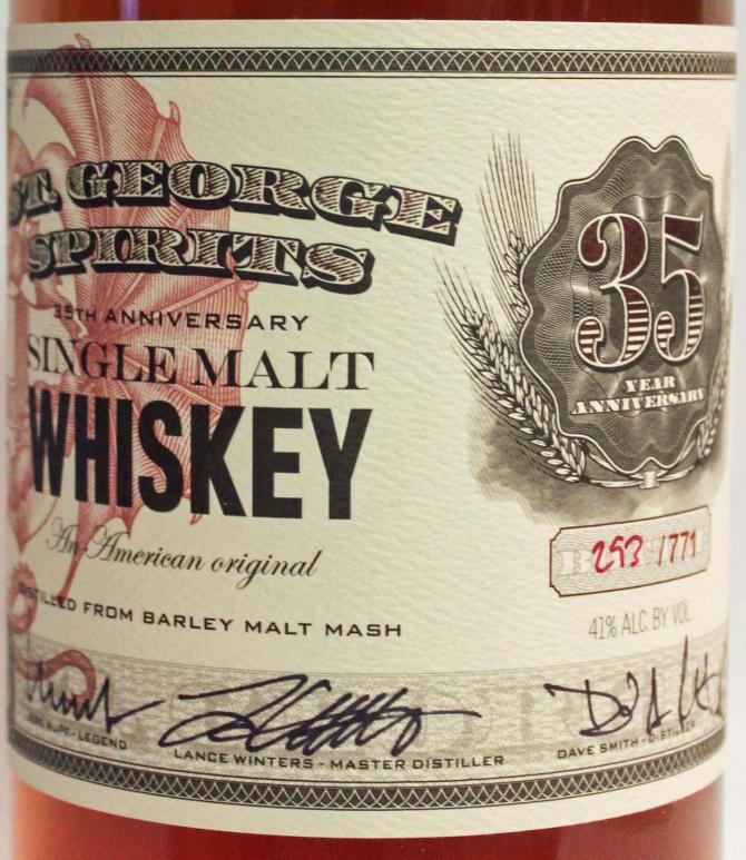 St. George Spirits 35th Anniversary Single Malt Whiskey