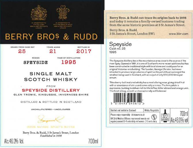 Speyside Distillery 1995 BR