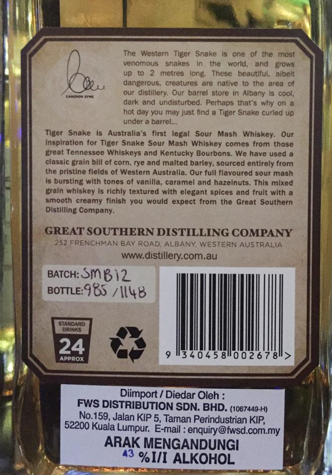 Tiger Snake Australian Whiskey Handcrafted Ratings And Reviews