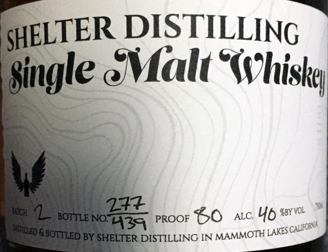 Shelter Distilling Single Malt Whiskey