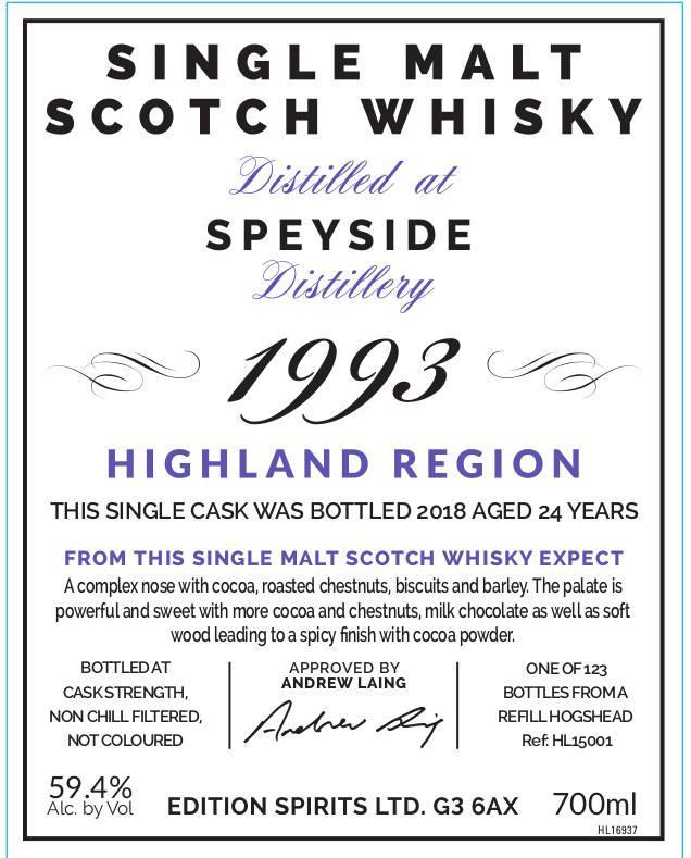 Speyside Distillery 1993 ED