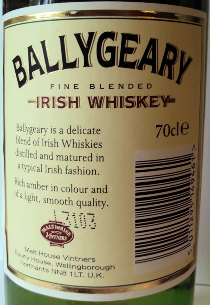 Ballygeary Fine Blended Irish Whiskey