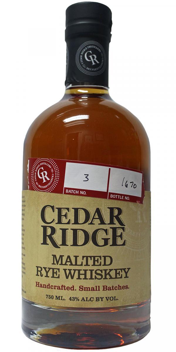 Cedar Ridge Malted Rye Whiskey