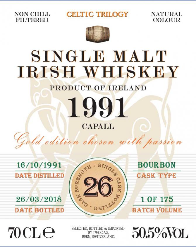 Single Malt Irish Whiskey 1991 - Capall TWCC