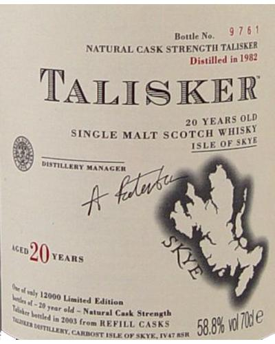 Talisker 20-year-old 1982