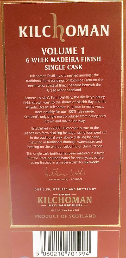 Kilchoman Volume 1 - Madeira Cask Finish