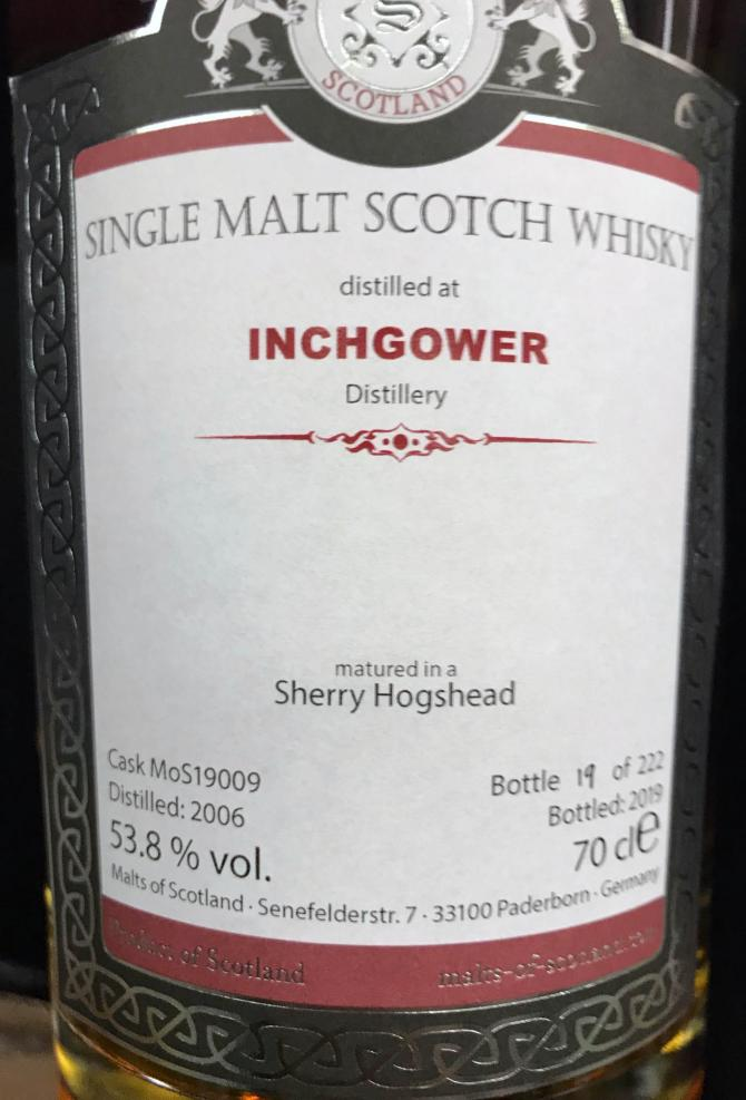 Inchgower 2006 MoS