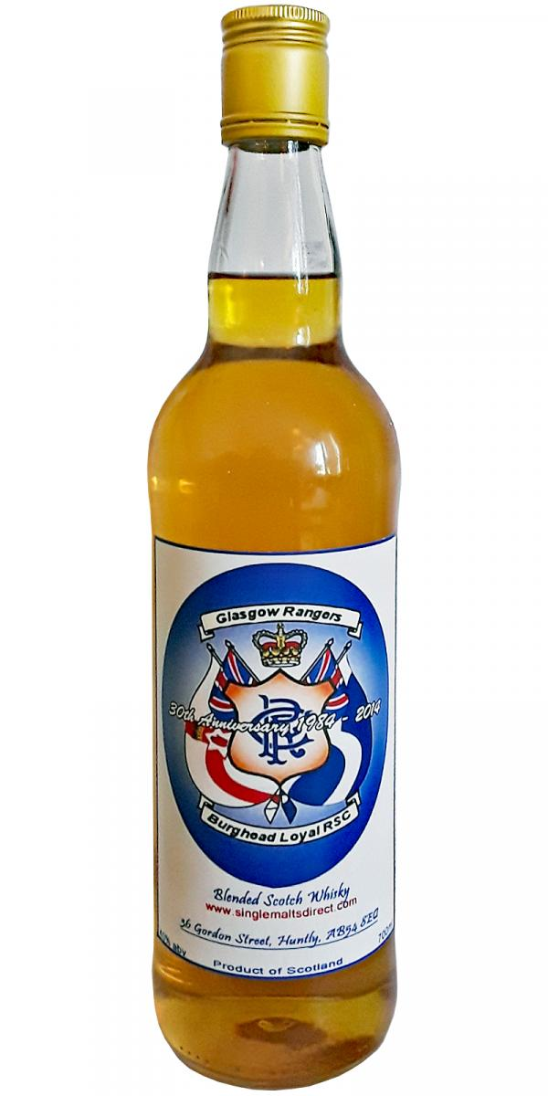 Blended Scotch Whisky Glasgow Rangers Burghead Loyal RSC 30th Anniversary