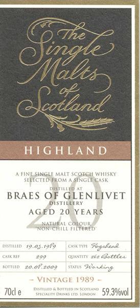 Braes of Glenlivet 1989 SMS