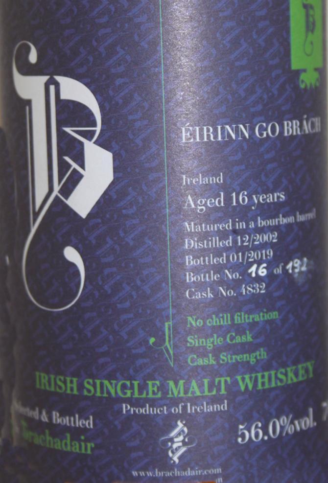 Irish Single Malt Whiskey 2002 Brd