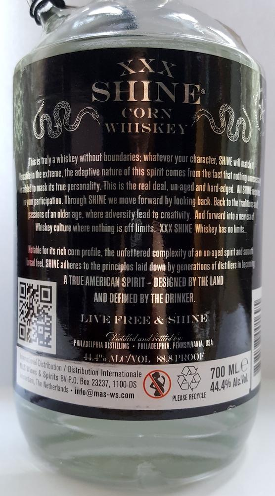 Philadelphia Distilling XXX Shine Corn Whiskey