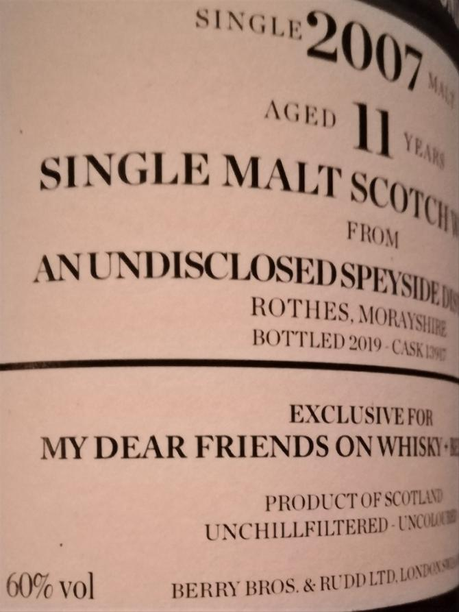 An Undisclosed Speyside Distillery 2007 BR