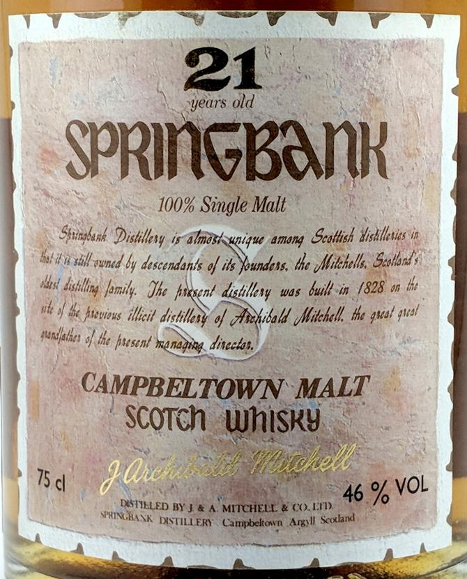 Springbank 21-year-old Archibald Mitchell