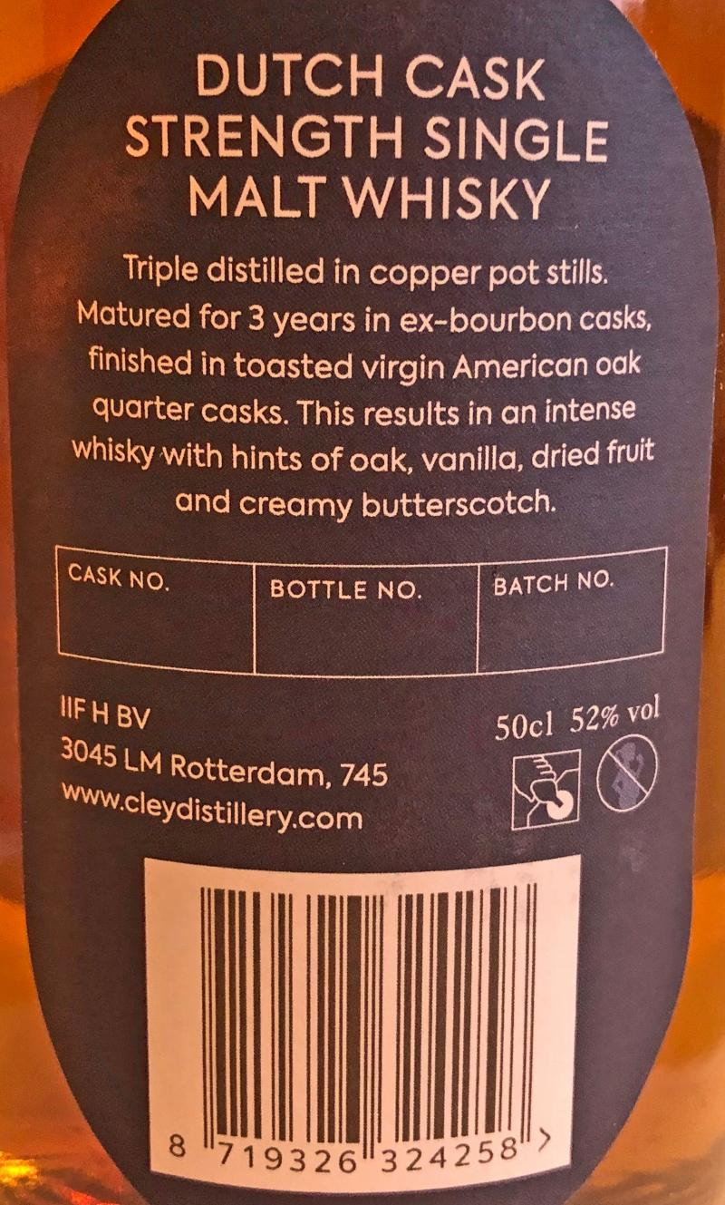Cley Whisky Dutch Cask Strength Single Malt Whisky