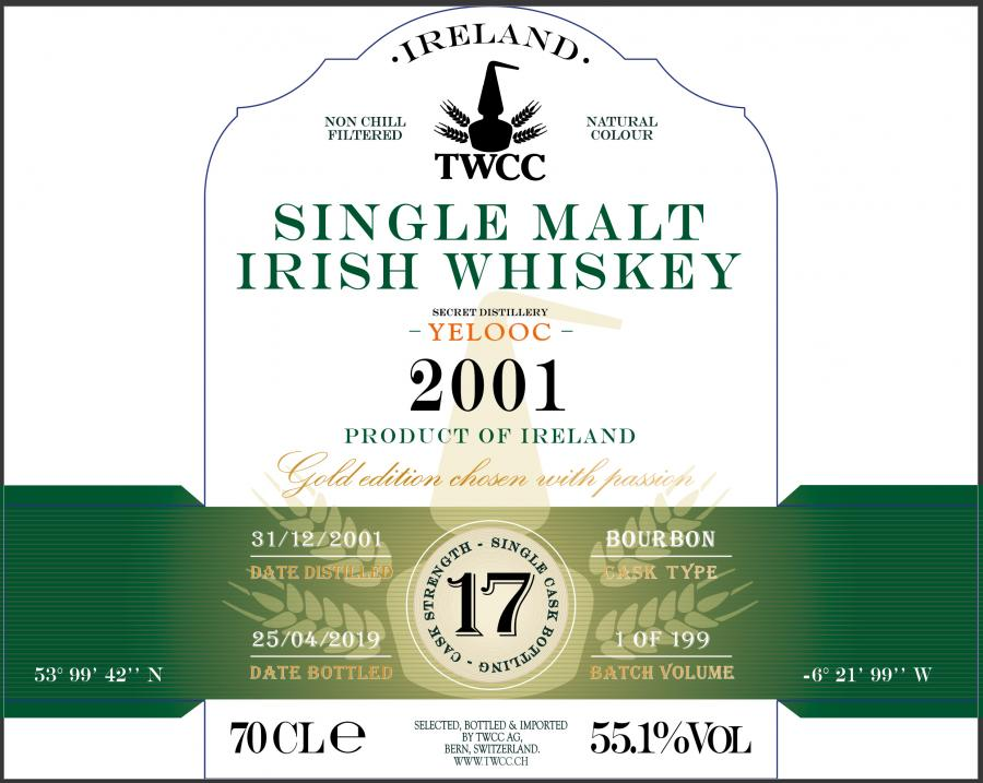 Single Malt Irish Whiskey 2001 - Yelooc TWCC