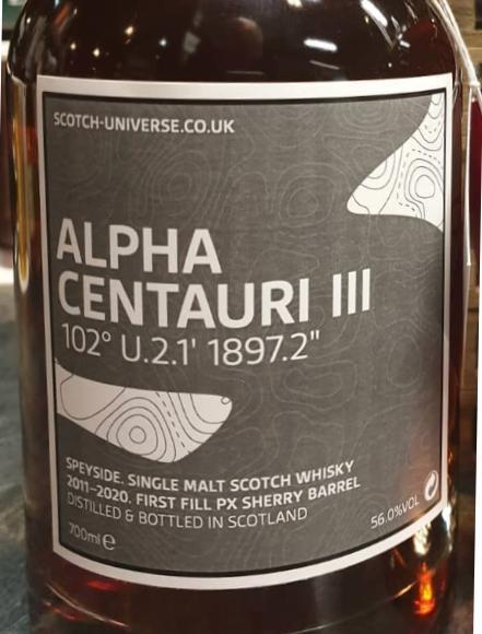 "Scotch Universe Alpha Centauri III - 102° U.2.1' 1897.2"""
