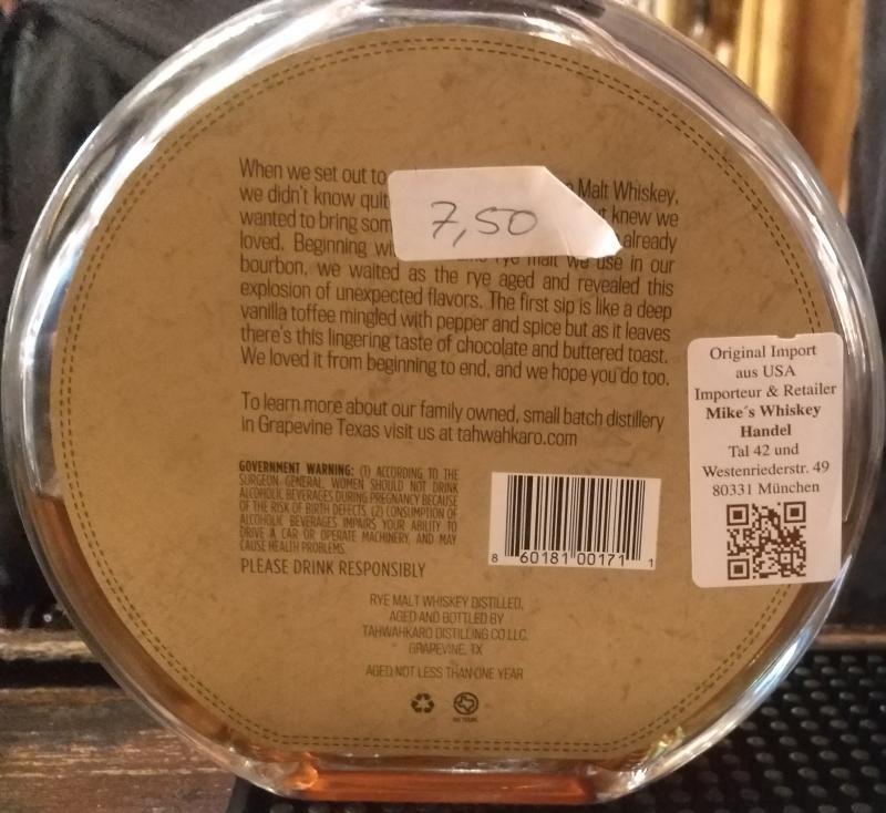 Tahwahkaro Texas Rye Malt Whiskey