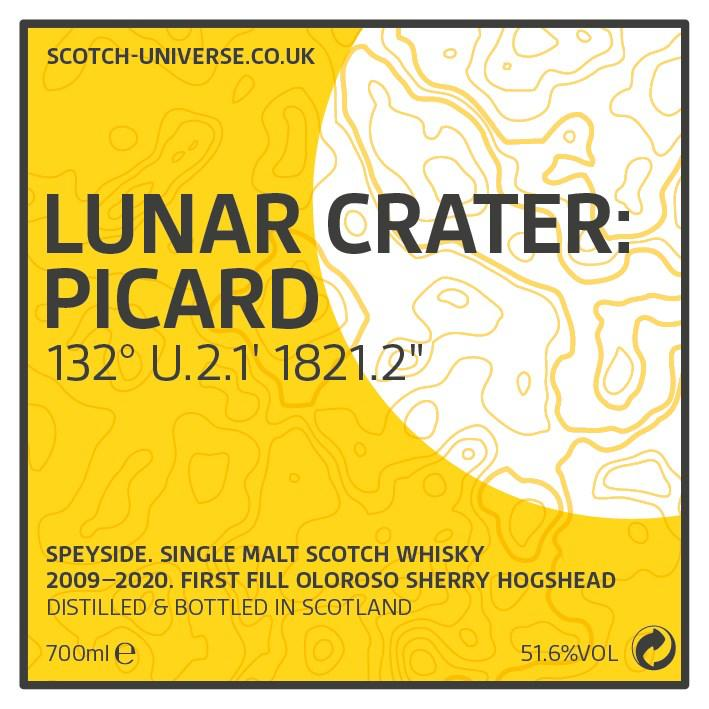 """Scotch Universe Lunar Crater: Picard 132° U.2.1' 1821.2"""""""