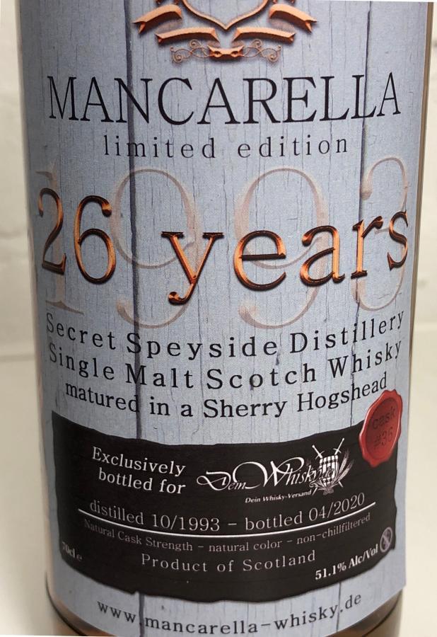 Secret Speyside Distillery 1993 Ma