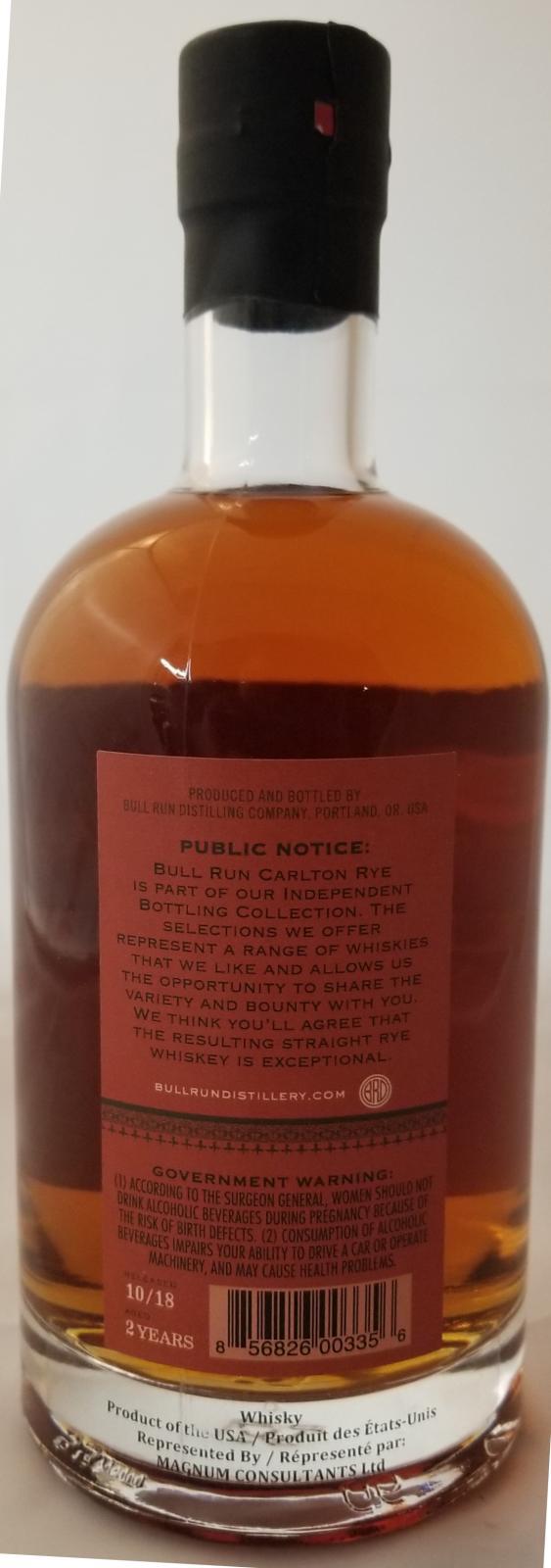 Bull Run Carlton Straight Rye Whiskey