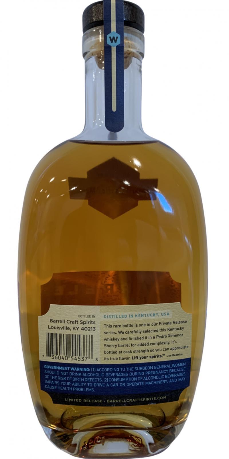Barrell Whiskey Kentucky Whiskey