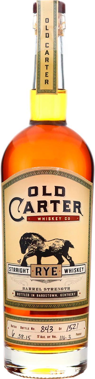 Old Carter Straight Rye Whiskey