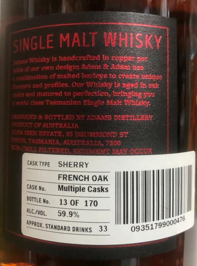 Adams Tasmanian Single Malt Whisky