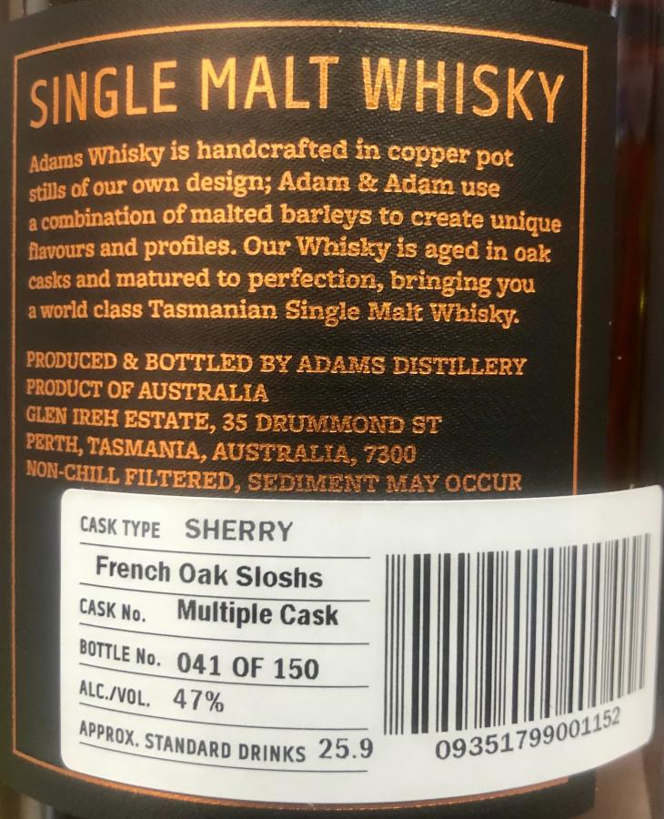 Adams Tasmanian Single Malt Whisky