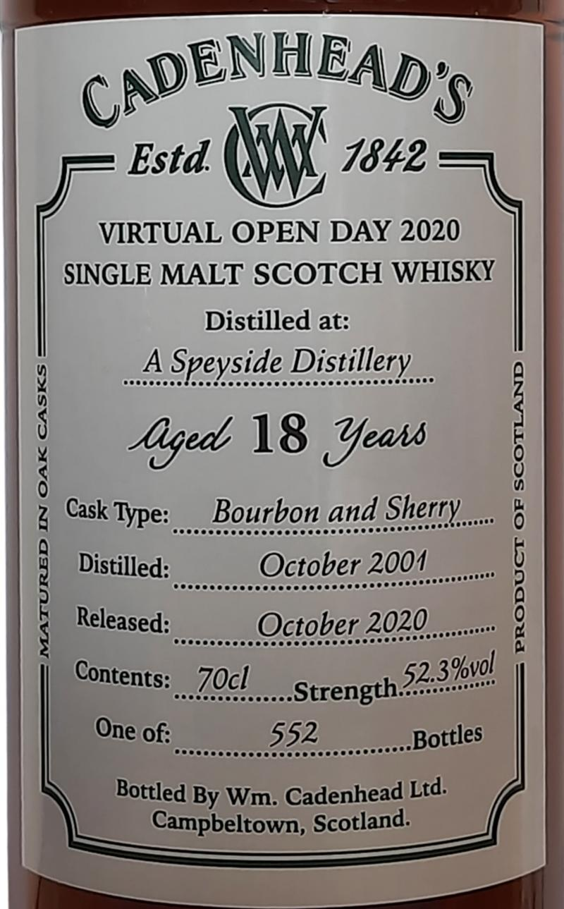 A Speyside Distillery 2001 CA