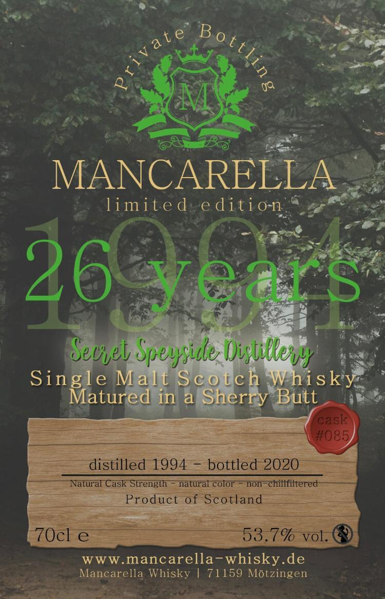 Secret Speyside Distillery 1994 Ma