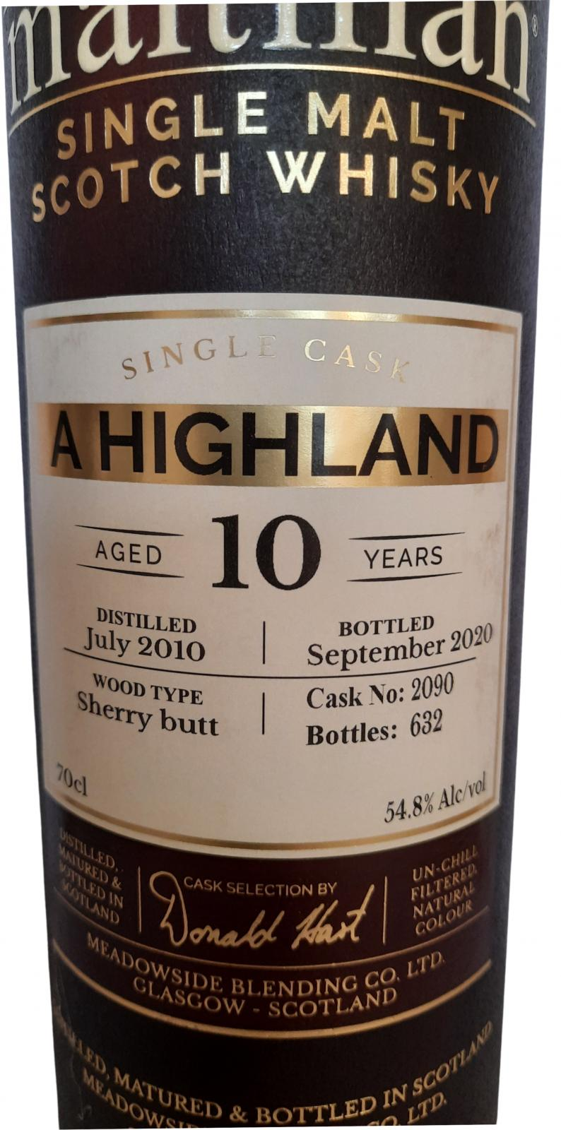 A Highland Distillery 2010 MBl