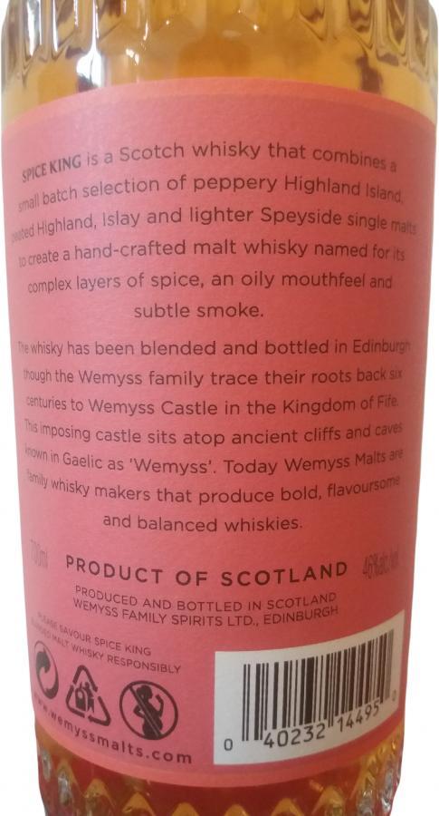 Spice King Blended Malt Scotch Whisky Wy