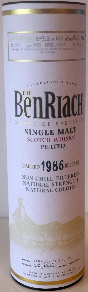 BenRiach 1986 - Peated
