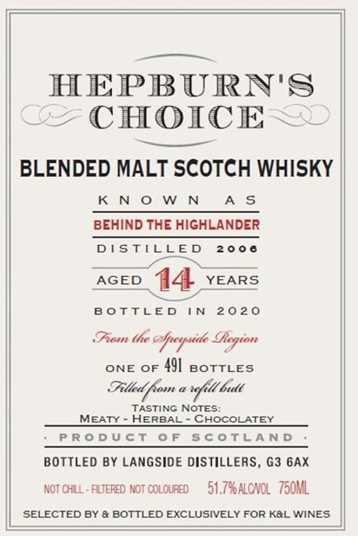 Blended Malt Scotch Whisky Behind the Highlander 2006 LsD