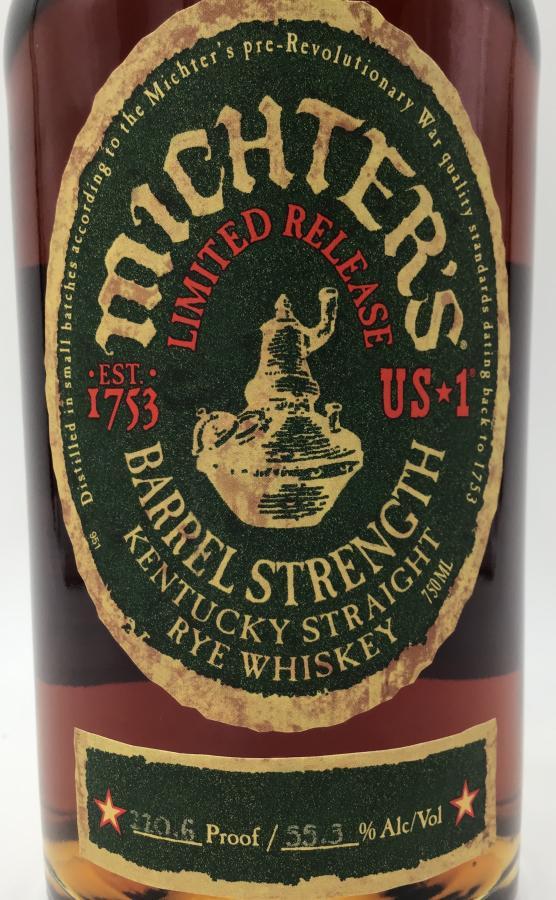 Michter's Barrel Strength Kentucky Straight Rye Whiskey