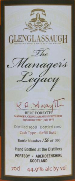 Glenglassaugh 1968 - The Manager's Legacy
