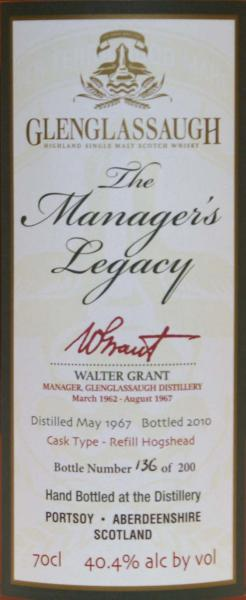 Glenglassaugh 1967 - The Manager's Legacy