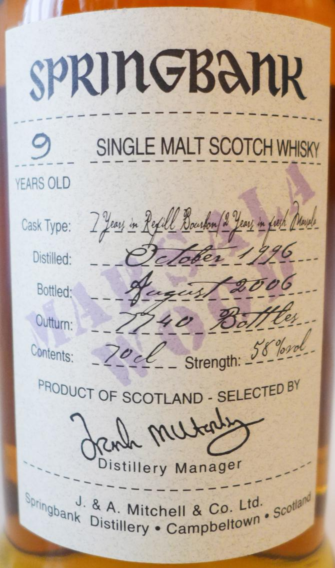 Springbank 1996 Marsala Finish