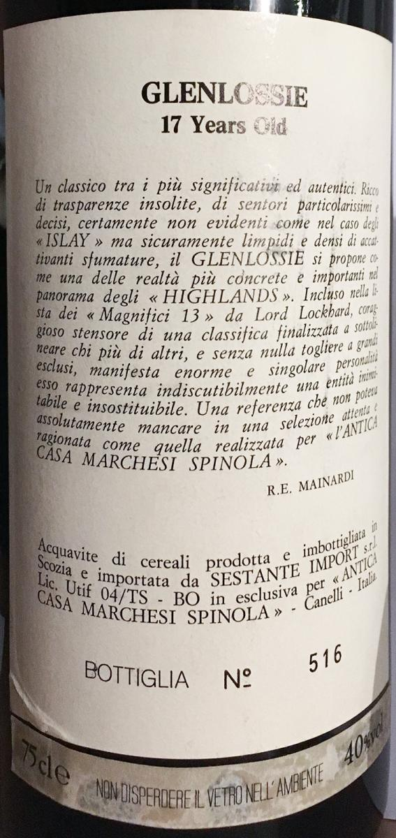 Glenlossie 1973 Ses