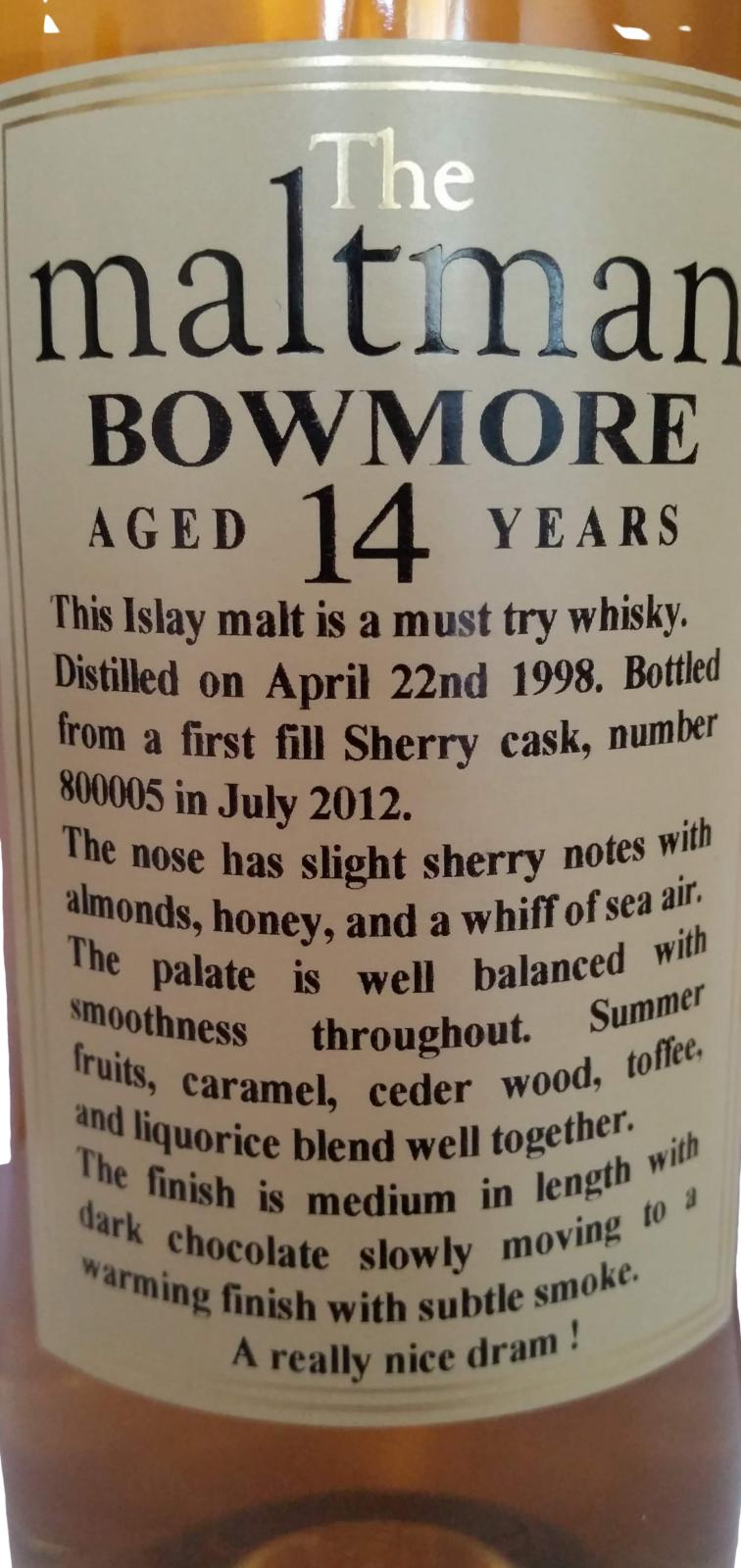 Bowmore 1998 MBl