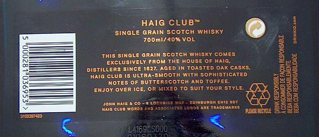 Haig Club Single Grain Scotch Whisky