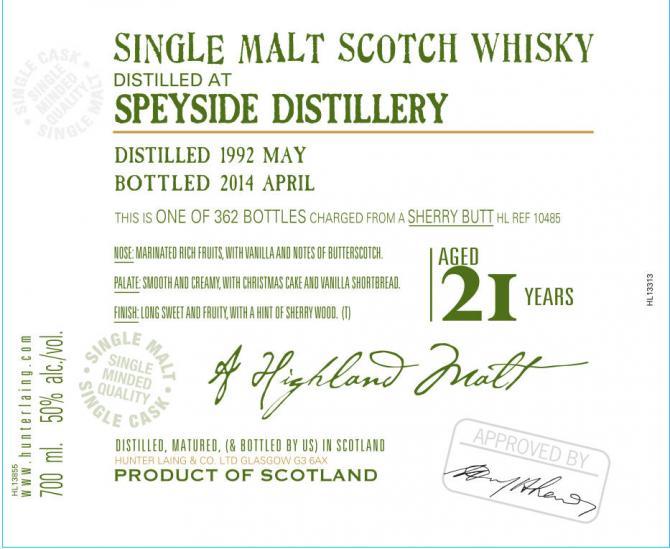 Speyside Distillery 1992 HL