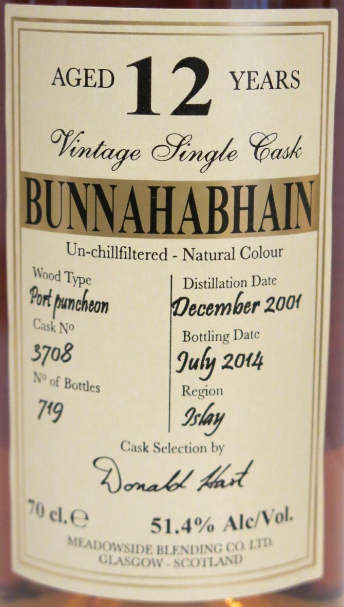 Bunnahabhain 2001  MBl