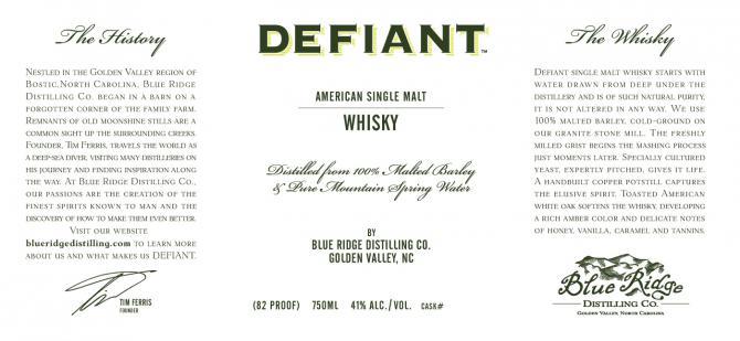Defiant American Single Malt Whisky