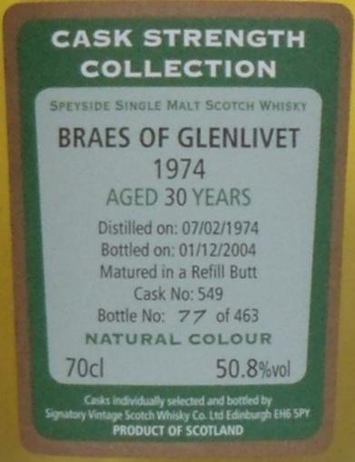 Braes of Glenlivet 1974 SV