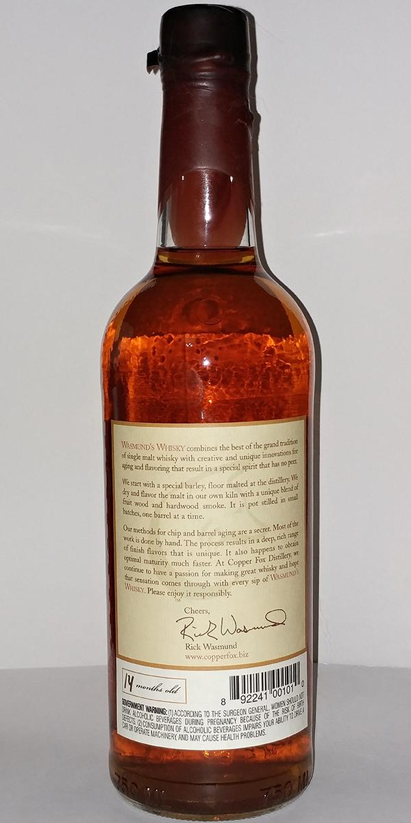 Wasmund's Rappahannock Pot Stilled Single Malt Whisky