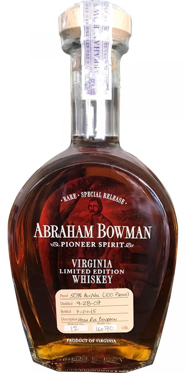 Abraham Bowman 2007 High Rye Bourbon